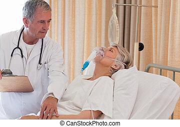patient, docteur, examiner, sien