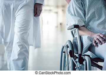 patient, docteur, hôpital, pousser, infirmière, fauteuil roulant