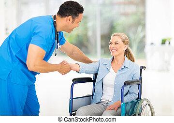 patient, docteur, monde médical, mi, salutation, handicapé, âge