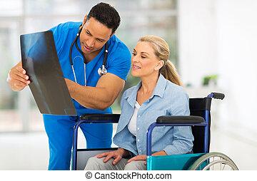 patient, docteur, projection, handicapé, rapport, mâle aîné, rayon x