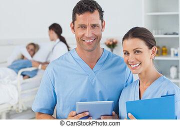 patient, doktor, kirurger, attending, klar, baggrund, portræt, kirurgi