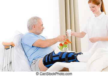 patient, donner, hôpital, boisson, -, femme, infirmière