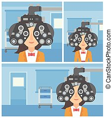 Patient during eye examination. - Young woman undergoing an ...