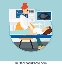 Doctor examining internal organs of a patient on the ultrasound. Doctor working on modern ultrasound equipment at medical office. Vector flat design illustration in the circle isolated on background.