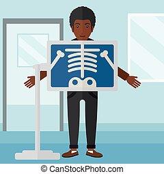 Patient during x-ray procedure.