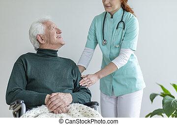 patient, elle, docteur, fauteuil roulant, toucher, femme, bras
