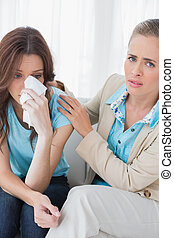 patient, elle, pleurer, thérapeute