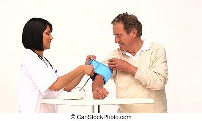 patient, elle, prendre, pression, asiatique, infirmière, sanguine