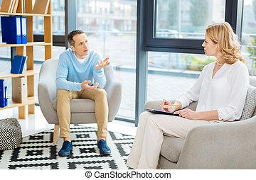 patient, elle, psychologue, écoute, professionnel, gentil
