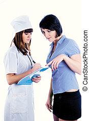 patient, et, docteur, médicament prescription