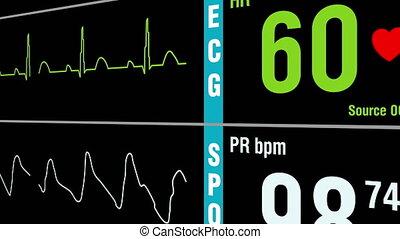 patient, examen, monde médical, vital, affichages, signes, moniteur
