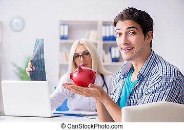 patient, fâché, note, healthcare, mâle, coûteux