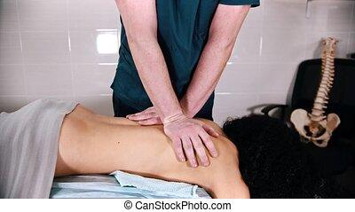 patient, femme, chiropraxie, -, masage, traitement, donner, ...