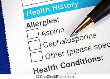 Patient fills medical history