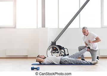 patient, fonctionnement, gymnase, habile, handicapé, orthopedist, dehors