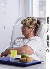Patient food in hospital - Elderly woman in hospital is not...