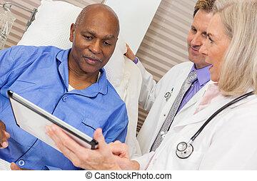 patient, hôpital, africaine, lit, américain, médecins, personne agee