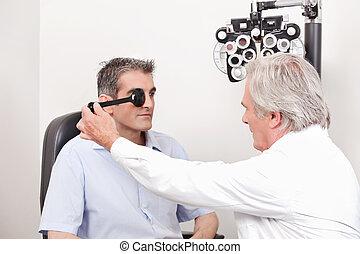 patient, haben, seine, sehvermögen, geprüft