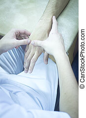 Patient hand in physical therapy physiotherapy
