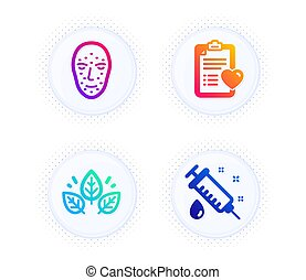 Patient history, Organic tested and Face biometrics icons set. Medical syringe sign. Vector