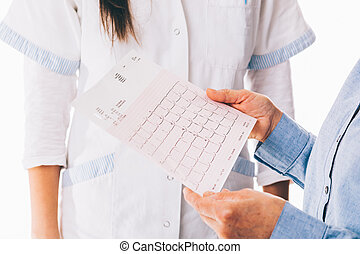 Patient holding cardiogram