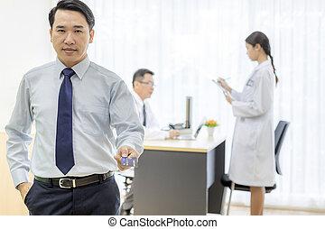 patient, hos, kontokort, by, forsikring, begreb
