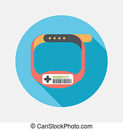 Patient ID Bracelet flat icon with long shadow