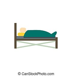 Patient in bed icon, flat style