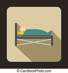 Patient in bed in hospital icon, flat style