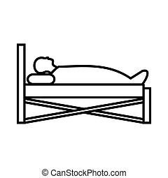Patient in bed in hospital icon, outline style