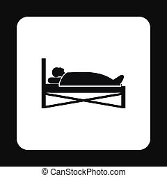 Patient in bed in hospital icon, simple style