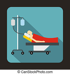 Patient in bed on a drip icon, flat style
