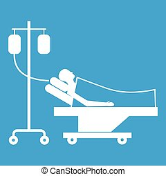Patient in bed on a drip icon white isolated on blue ...