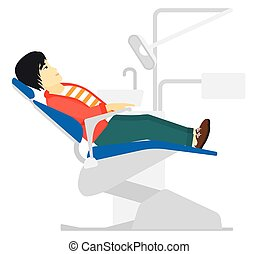 Patient in dental chair. - An asian patient sitting in...
