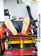Patient in emergency car ambulance