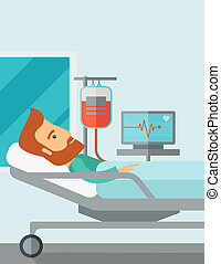 Patient in hospital bed being monitored
