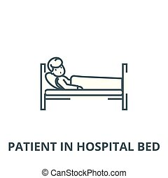 Patient in hospital bed vector line icon, linear concept, outline sign, symbol