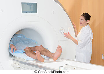 Patient in scanner tunnel