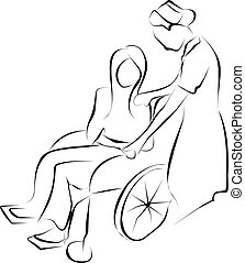 nurse holding disable patient 's hand that sit on wheelchair