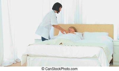 patient, infirmière, visiter