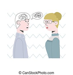 Patient is trying to solve a psychological problem with doctor. He is all in a tangle, his thoughts were all jumbled together. Concept vector illustration.