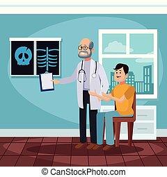 patient, karikatur, buero, doktoren