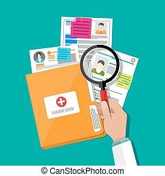 patient, karte, hand, glas, büroordner, vergrößern