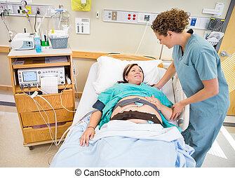 patient, kommunizieren, klinikum, schwanger, bett, krankenschwester, liegen