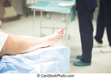 Patient leg in operating theater