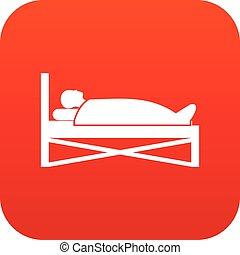 patient, lit hôpital, numérique, rouges, icône