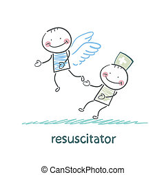 patient, loin, voler, ciel, resuscitator, garde