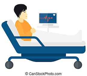 Patient lying in bed with heart monitor.