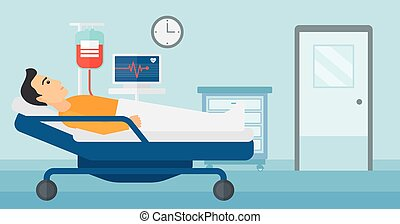 Patient lying in hospital bed.