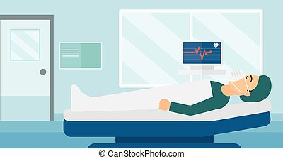 Patient lying in hospital bed with heart monitor.